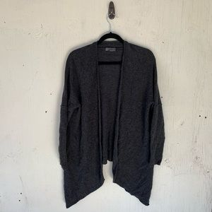 Premise Gray Open Drape Cashmere Cardigan Sweater